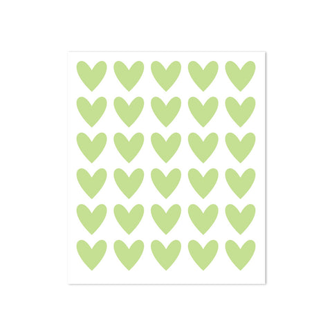 STICKERS - 30 HEARTS - GREEN