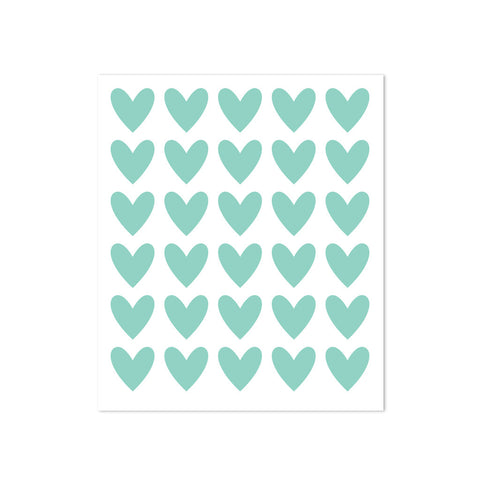 STICKERS - 30 HEARTS - TURQUOISE