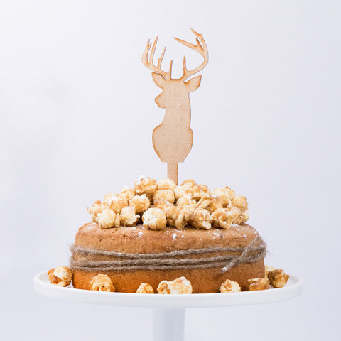 CAKE TOPPER  - WOOD - DEER