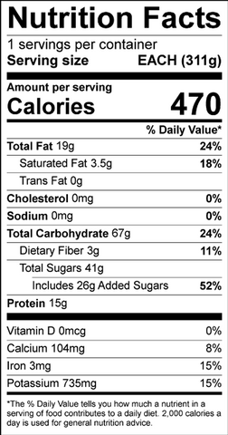 Banana yogurt parfait nutritional information