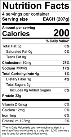 Foil Wrapped Chicken Nutritional Facts