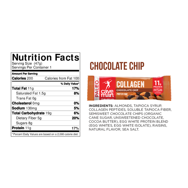 8 pack - Chocolate Chip Collagen Bars