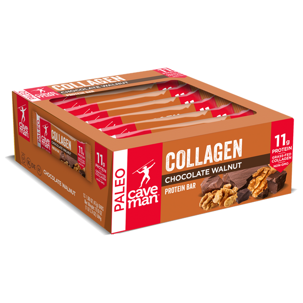 Each collagen protein pack contains 12 Chocolate Walnut Bars.