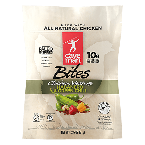 Try our jerky bites made with cage-free chicken and spices.