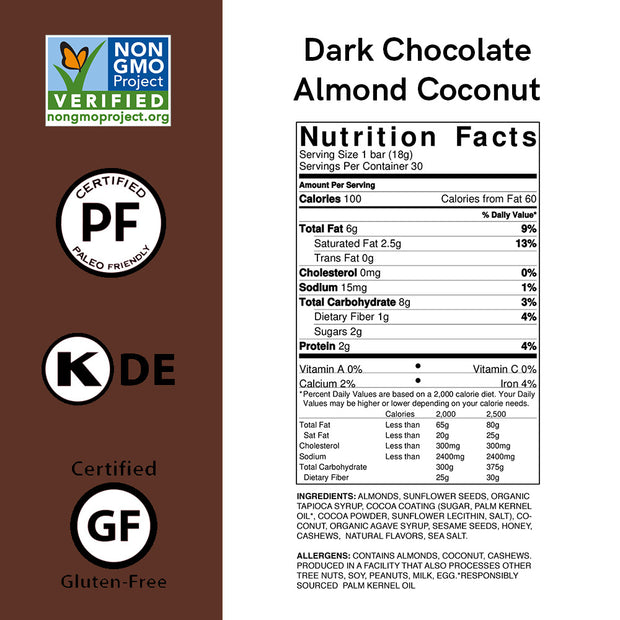 Dark Chocolate Almond Coconut Nutrition Bar Minis