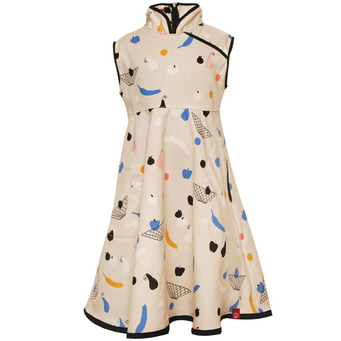 Mandarin Swing Dress SS19 Funky Fruit Art