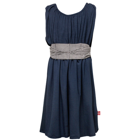 Mona Dress Navy With Houndstooth Cummerbund
