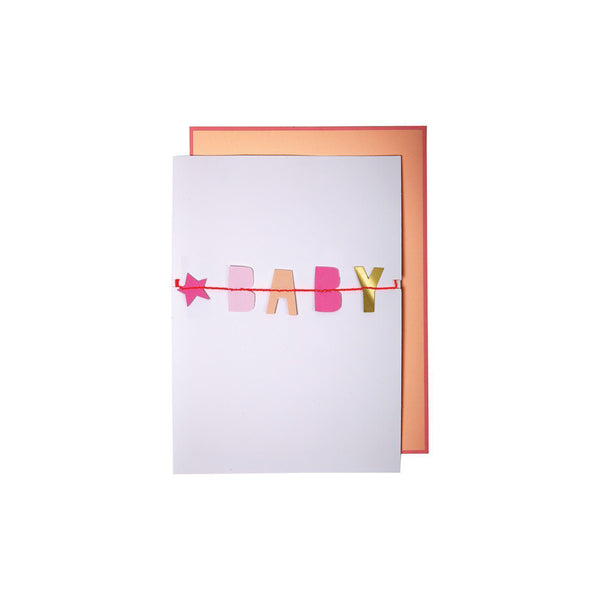 Baby Baby Girl Garland Card