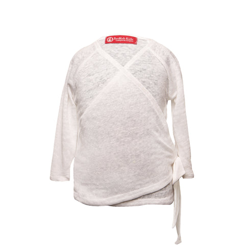 redfish kids Simina Wrap arctic Linen baby cardigan layer coral 100% linen natural local made in vancouver canada sweatshop free cute chic fashion adorable elegant soft cozy S/S18 spring 2018 girls boys clothing gift white