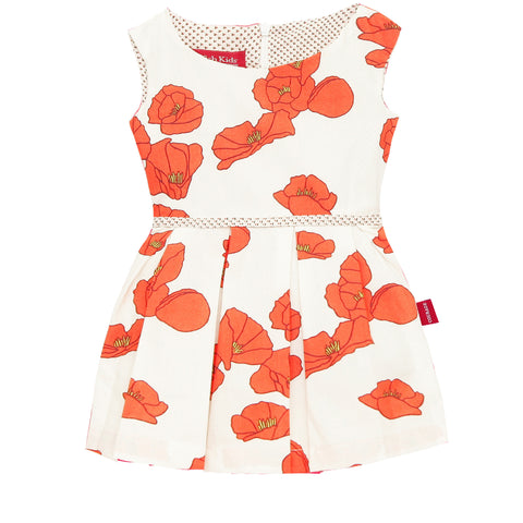 Baby Millie Dress Set Red Poppies with Orange Bloomers