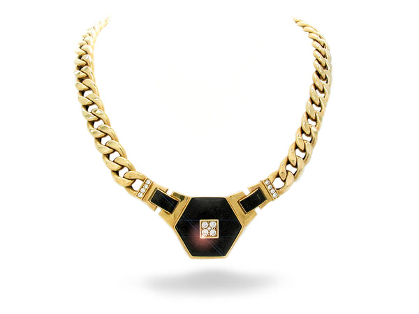 Necklace with Black Wood & Diamond