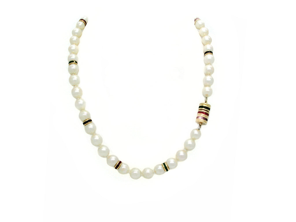Pearl Necklace with Gemstones