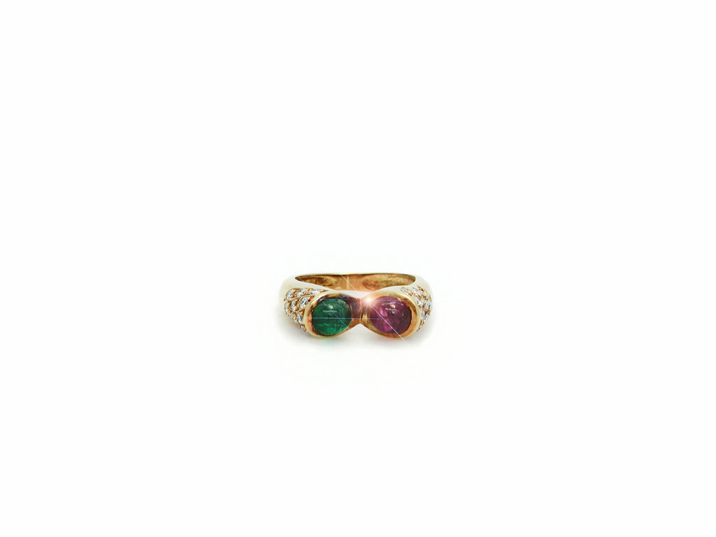 Ring with Diamond, Emerald and Ruby