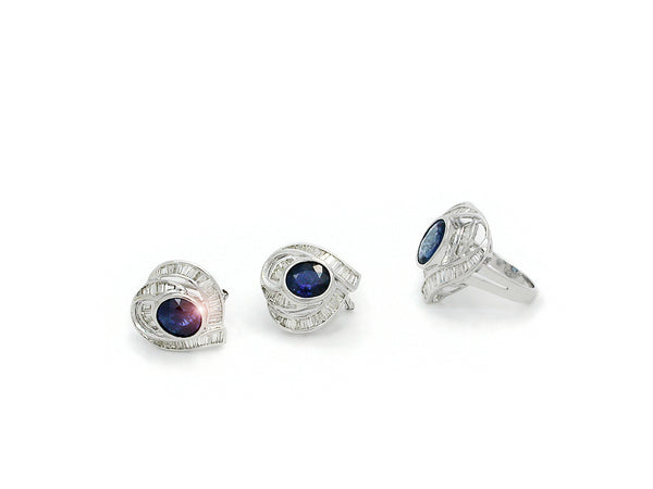 Set with Diamonds and Sapphire