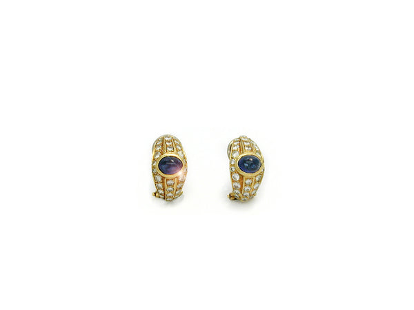 Earrings with Diamonds and Sapphire