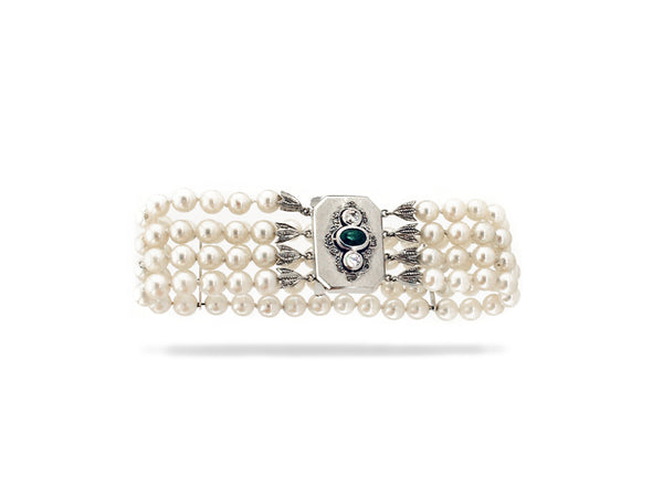 Four Row Pearl Bracelet with Diamond & Emerald