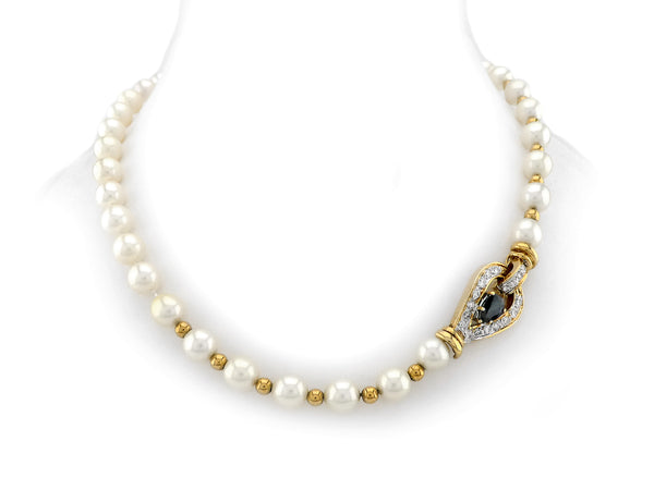 Pearl Necklace with Gold, Diamond & Sapphire