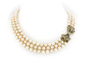 Triple Row Pearl Necklace with Diamond & Sapphire Clasp