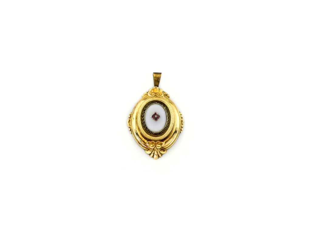 Pendant with White Stone & Ruby