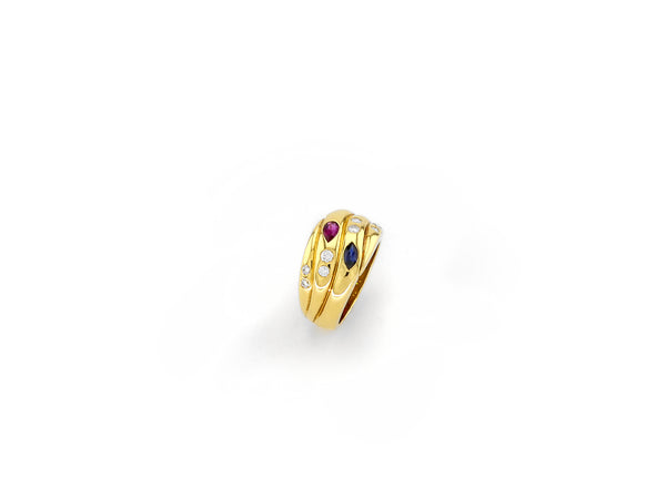 Ring with Diamond - Sapphire & Ruby