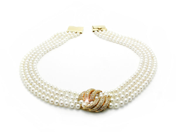 Pearl Necklace & Bracelet with Gold & Diamond