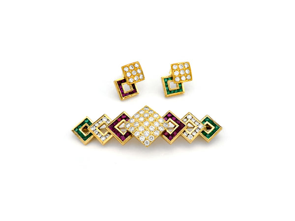 Set Earrings & Brooch with Diamond, Emerald & Ruby