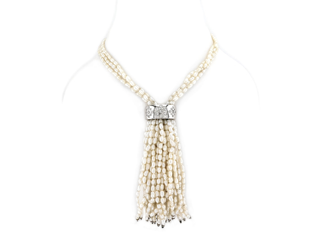 Pearl Necklace with Diamond & Gold