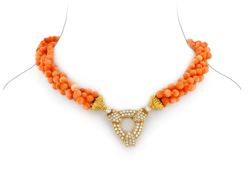 Coral Necklace with Gold & Diamond