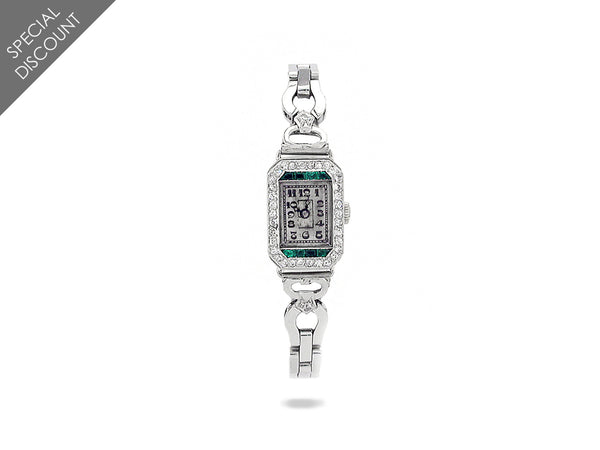 Antique Platinum, Diamond & Emerald Watch