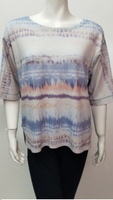 Nally & Millie Elbow Sleeve Stripe Tie Dye Print Top