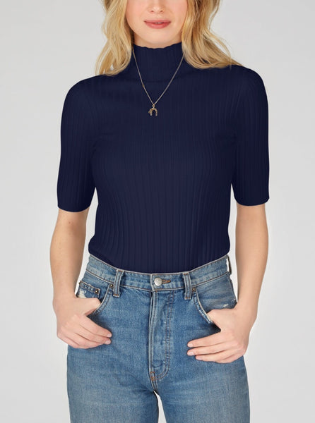 525 Remi Short Sleeve Ribbed Mock Neck Top