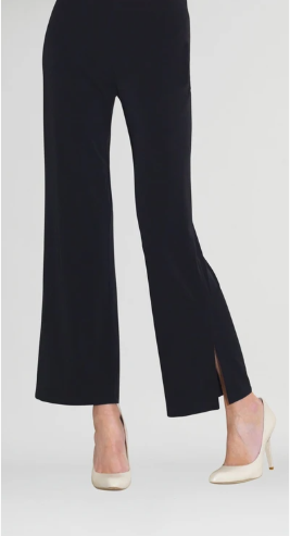 Clara Sunwoo Solid Side Slit Pull-on Soft Knit Ankle Pant