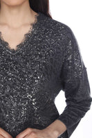 Flora Ashley Long Sleeve Vnk Animal Print with splatter and lace