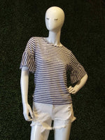 Worlds Best Short Flounce Sleeve Striped Knit Tee