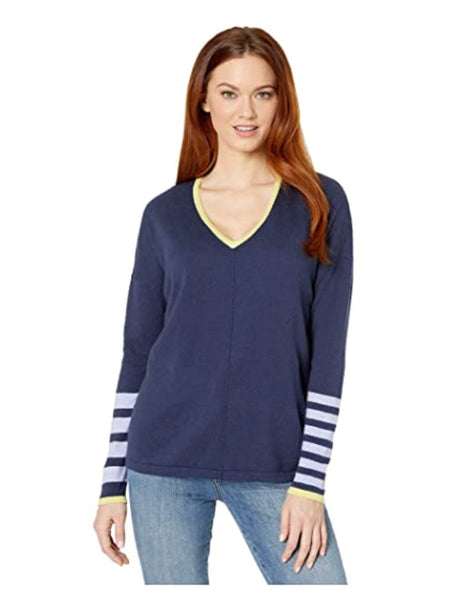 Worlds Best V-Neck Sweater w/ Striped Sleeves