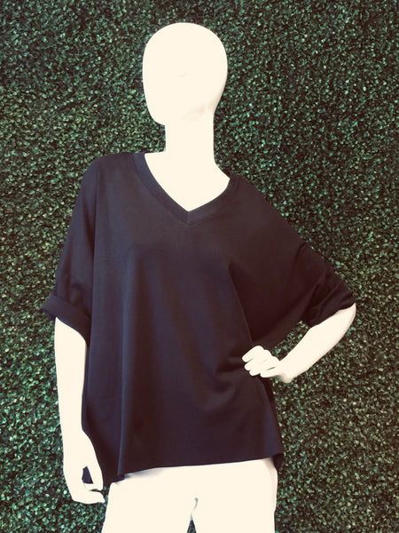 Planet Elbow Sleeve V-Neck Boxy Tee