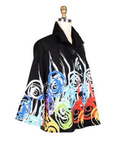 Damee Abstract Swirl Button Down Jacket
