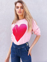 525 Ombre Heart Crewneck Cashmere Sweater
