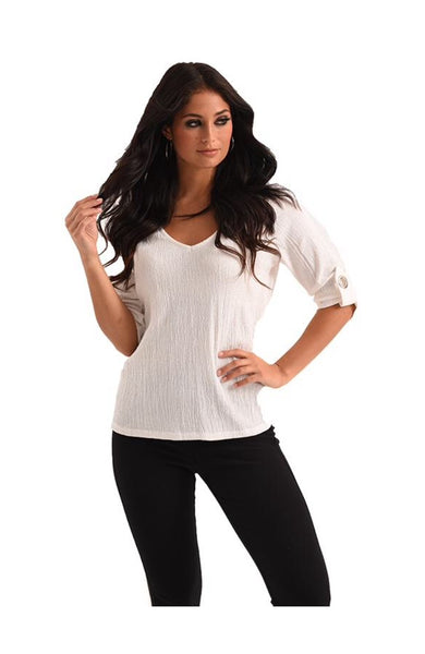French Kyss Nina Cuffed Sleeve Grommet Top