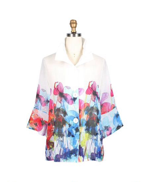 Damee Watercolor Floral Print Button Down Sheer Jacket w/ Pockets