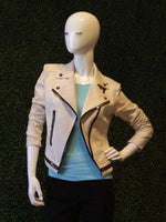 Insight Distressed Faux Leather Moto Jacket w/ Zipper Detail