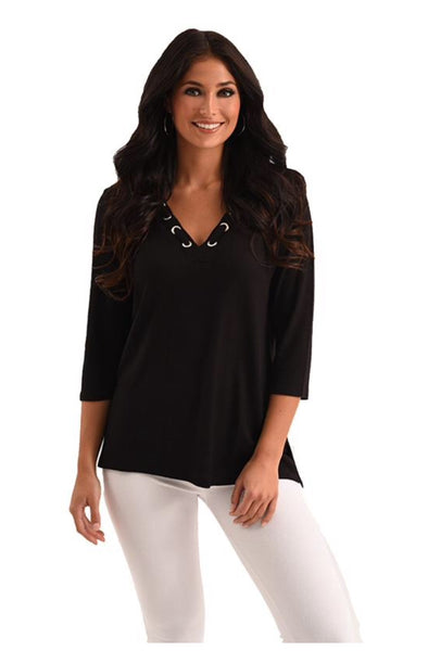 French Kyss Heather Grommet V-Neck Kashmira Top