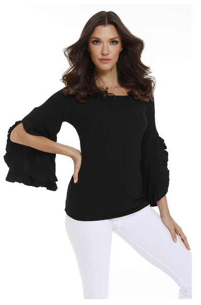 French Kyss Lydia Ruffle Sleeve Top