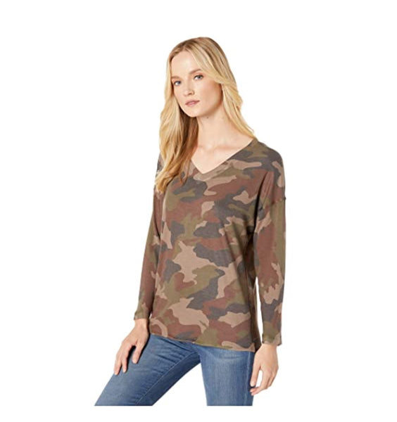 Nally & Millie Long Sleeve V-Neck Camo Top