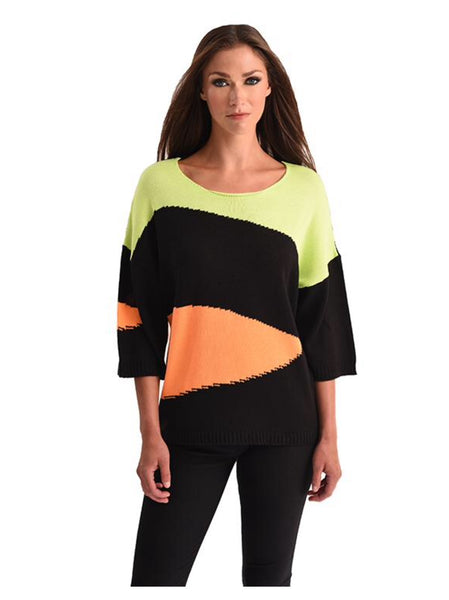 Angel Abstract Multi Color Elbow Sleeve Sweater