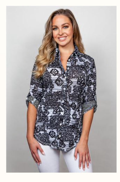 Sno Skins Long Sleeve Patterned Button Down w/ Optional Cuff