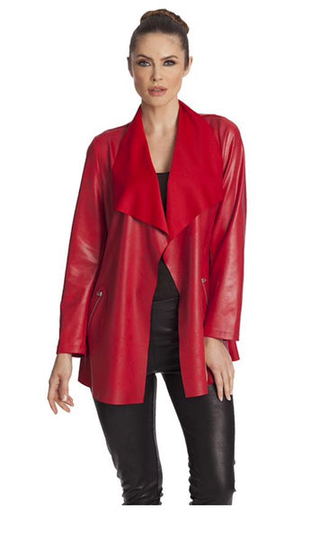 Angel Open Faux Leather Long Draped Jacket