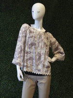 Easel Paisley Patterned Off-Shoulder Peasant Top w/ Lace Trim