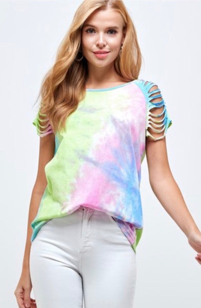 Round Neck Short Sleeve Tie Dye Top w/ Cut Sleeve