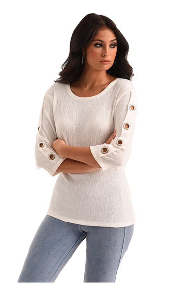 French Kyss Janelle Textured 3/4 Sleeve w/ Grommets